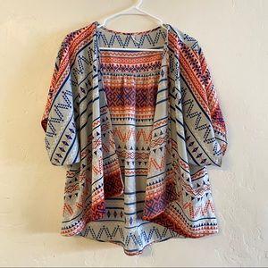 My Story Gray & Navy Chiffon Kimono Size Medium